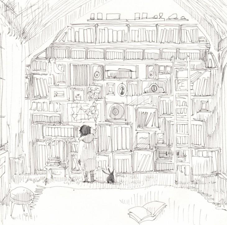 ハカセとボクジュ-アパートメントの図書室。