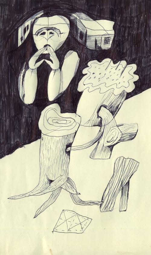 散らかった木と雑巾を自分は見ている