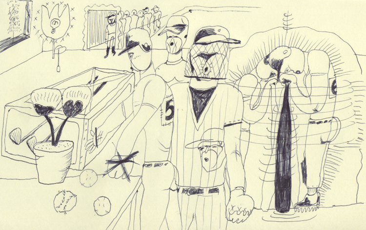 野球の格好をした人と花とゴルフクラブの練習
