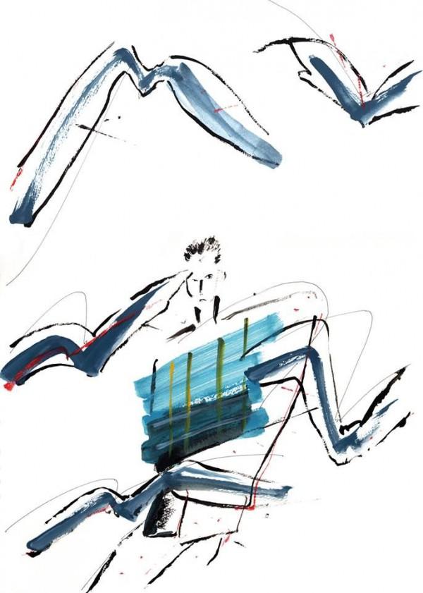 横山雄個展「もうすぐそこへ行く」DMイラスト画