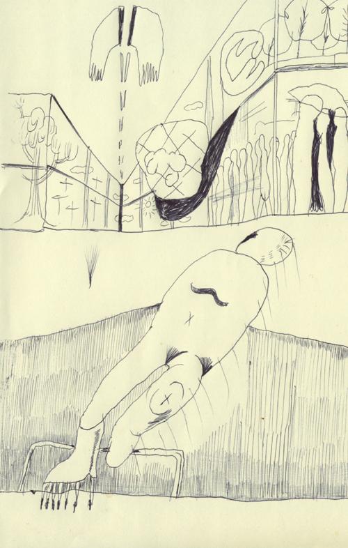 なんか僕は浮いてるような、浮いてないような感じ。片足はとげとげで大地に突き刺さっている