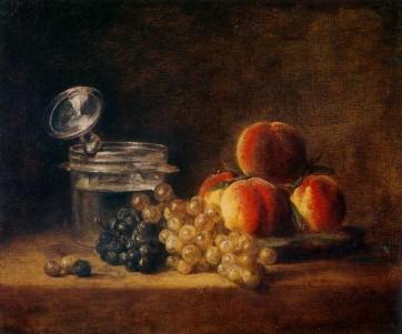 Jean-Simeon-Chardin-Panier-de-peches-et-raisin-blanc-et-noir-avec-rafraichissoir-et-verre-a-pied