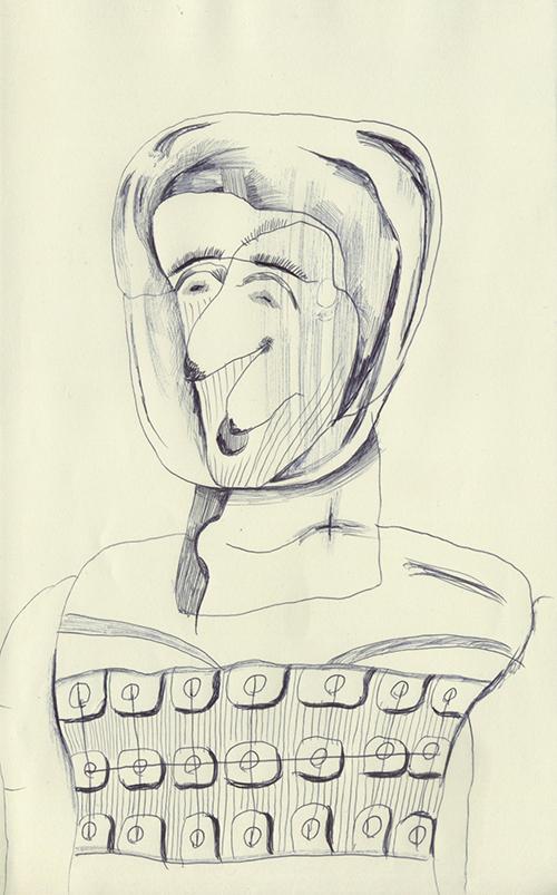 ヘルメットを被った男