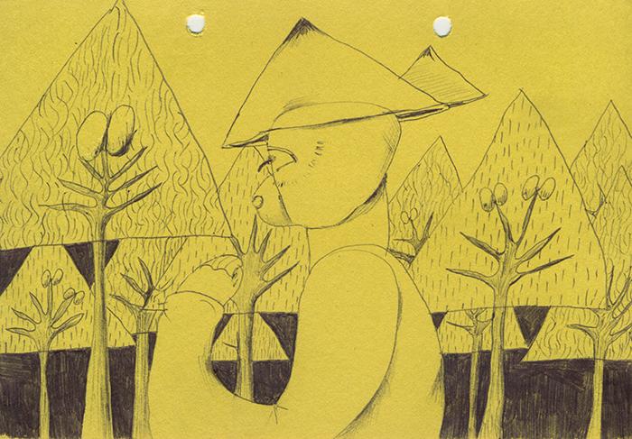 三角の帽子を被って三角の木のところをずっと歩いているので、気分が良くない