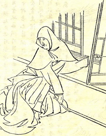 【障子紙を張り替えている松下禅尼(Wikipediaより)。禅尼は今でいうファーストレディのような存在だった。】