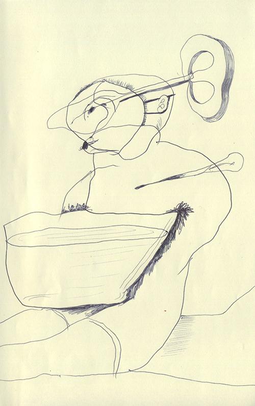 水の入った大きなお椀を太ももに乗せているゼンマイ式のネジが頭に刺さった動かない人形のような人間