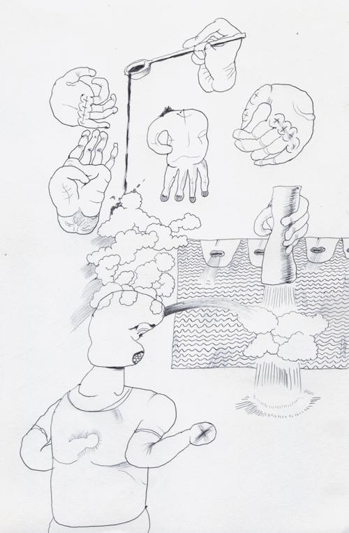 手を描く練習となんかのタレと胡椒とスリットのような口から息を漏らす人