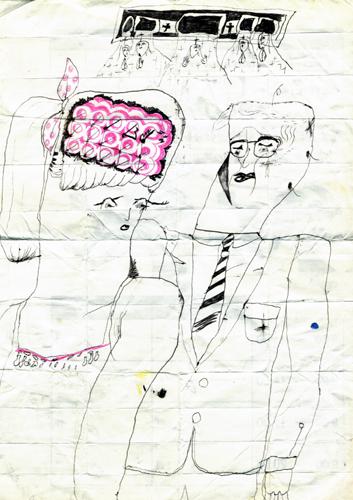 脳が簡素な女の人と、医者と、後ろに5人の天使がいる