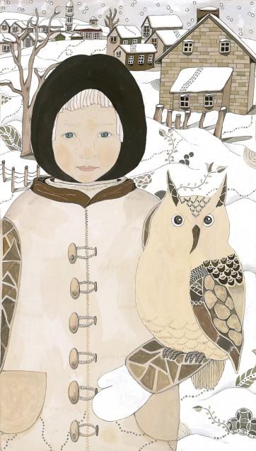 雪国の少年とフクロウ