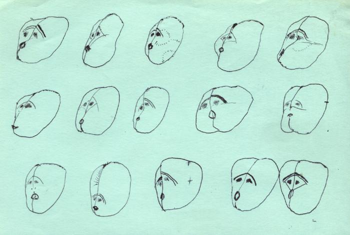 豆みたいな形の顔