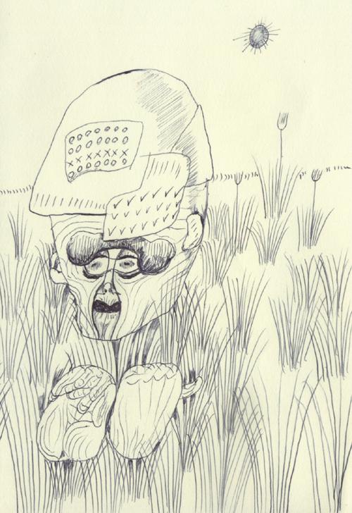 草むらに隠れているおじいさん