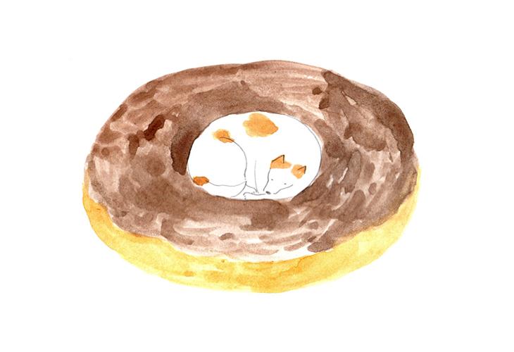 犬と短歌3(ドーナツの穴にマル)