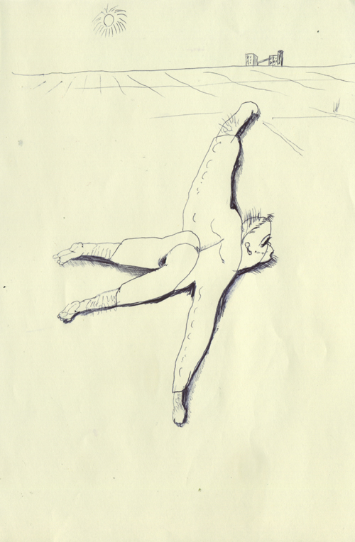 飛んでいるかのように見える男は、地面に倒れているだけだったんだね