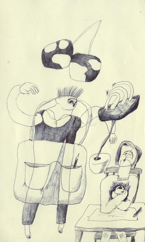 さくらんぼと花と鉛筆を1本持った幽霊