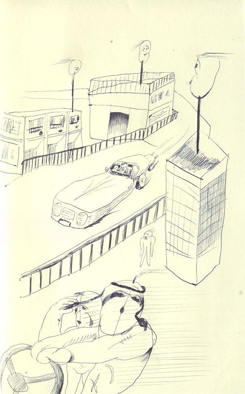 街を描こうとするけど、建物は3つくらいしか書けないし、車もボロボロの車が1台しか描けない