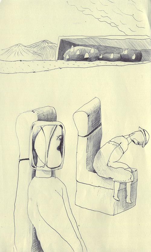 広いところで、前かがみの女性と僕は椅子に座っている。僕の顔は透明のビニールみたいな容器に包まれているんだけど、何でなんだろうね