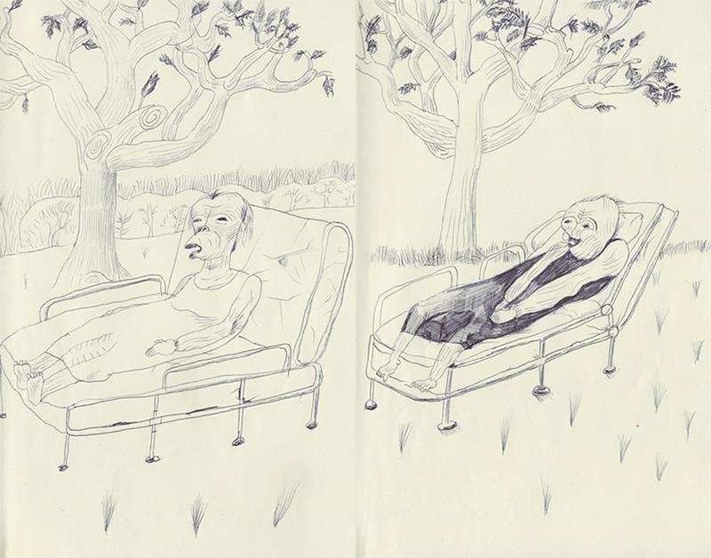 木のそばで横になっている人。うまく描けない