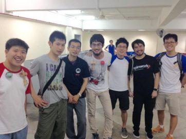 向かって左からElliot、向井六段、橋詰七段、僕、Wen、Hansさん、Junwei