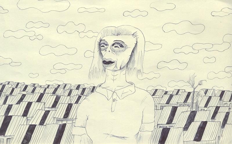 ポロシャツを着た女性。スリットが入った屋根が並んでいる