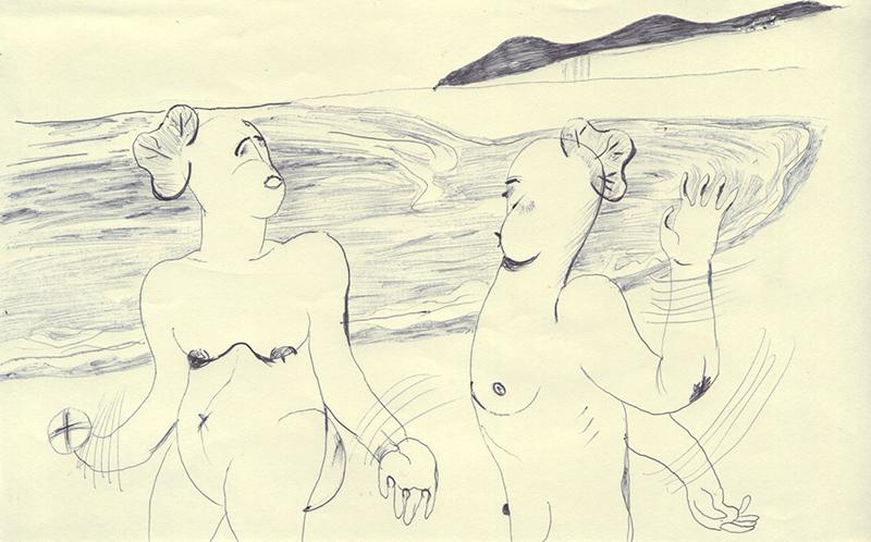 海で裸で遊ぶ人を描きたいけど上手く描けない
