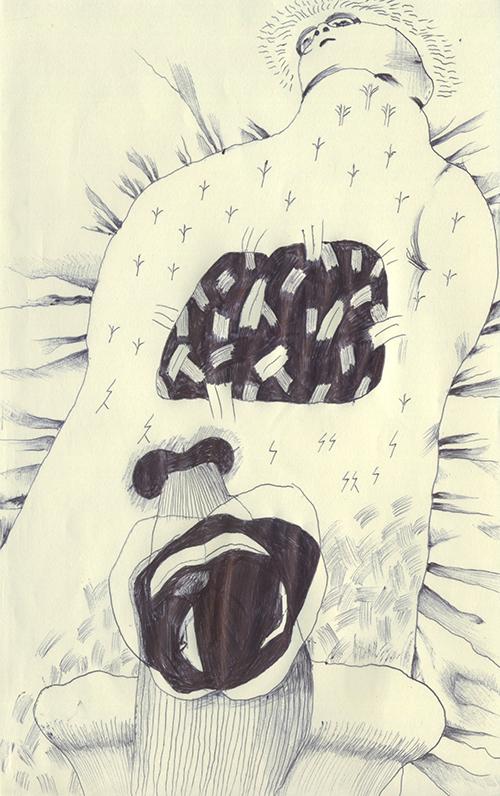黒い心臓と、変な臓器を持つ男。胃とか肺とかは無いので、シーツに寝ている