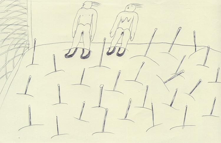 僕たち2人で両足が土の中に埋まっていて、そのうえ辺りには鉄の棒みたいなのが同じように埋められているだけなので、とってもつまらない