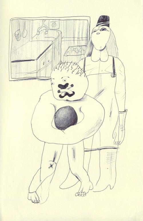 僕はスーパーで働いているので、スーパーの裏で背の高い肉屋の女に黒くて重い球を持たされている