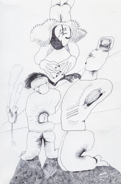 球が回転するビニール製の帽子をかぶった硬直した姿勢の人の手を握りしめている