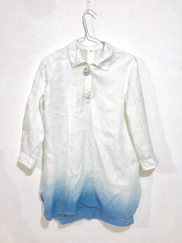 えれなさんの裾グラデーション染め。おしりのところだけ汚れるのはよくある。